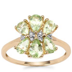 Merelani Mint Garnet Ring with Diamond in 10K Gold Ring