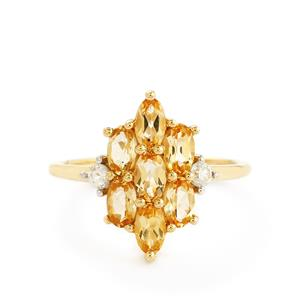 Ouro Preto Imperial Topaz & White Zircon 9K Gold Ring ATGW 1.90cts