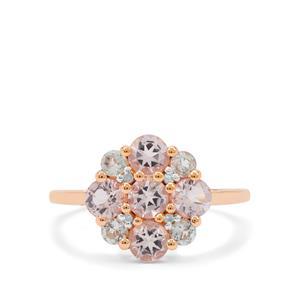 Aquaiba™ Beryl ,Cherry Blossom Morganite Ring with Diamond in 9K Rose Gold 1.40cts