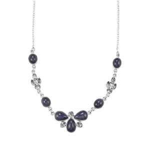 Tanzanite & Sky Blue Topaz Sterling Silver Aryonna Necklace ATGW 46.60cts