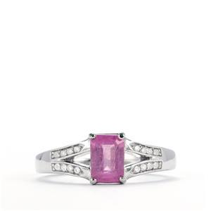 Ilakaka Hot Pink Sapphire & White Topaz Sterling Silver Ring ATGW 1.59cts (F)