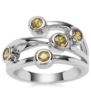 Ambanja Demantoid Garnet Ring in Sterling Silver 1.02cts