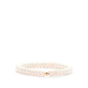 Kaori Cultured Pearl Elasticated Bracelet in Gold Tone Sterling Silver (6x3mm)