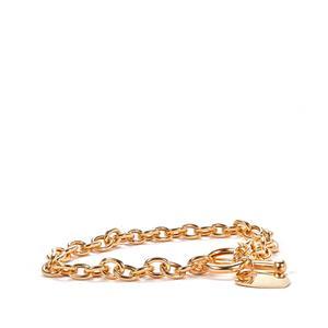 9K Gold Altro Belcher Lariat Heart Bracelet 7.50g