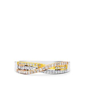 Diamond Ring in Three Tone Gold Plated Sterling Silver 0.25ct