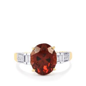 Zanzibar Zircon Ring with Diamond in 18K Gold  6.39cts