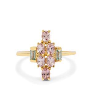 Cherry Blossom Morganite & Aquaiba™ Beryl 9K Gold Ring ATGW 1.15cts