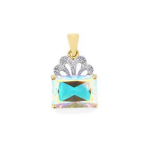 Mercury Mystic Topaz Pendant with Diamond in 9K Gold 8.76cts