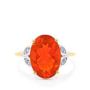 AAA Strawberry American Fire Opal Ring with Diamond in 10k Gold 3.65cts