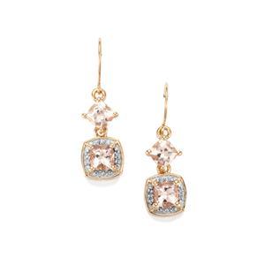 Alto Ligonha Morganite & Diamond 10K Gold Earrings ATGW 2cts
