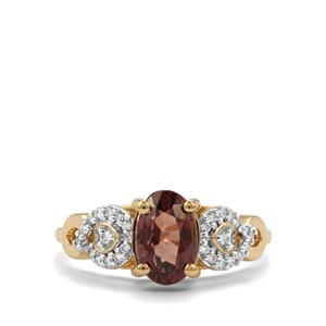 Tsivory Colour Change Garnet Ring with Diamond in 18K Gold 2.51cts