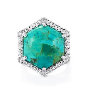 Cochise Turquoise & White Topaz Sterling Silver Ring ATGW 15.13cts