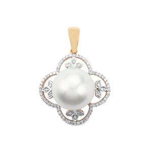 South Sea Cultured Pearl & Diamond 18K Gold Pendant (13mm)