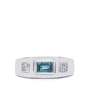 Swiss Blue Topaz Ring with White Zircon in Sterling Silver 0.81cts