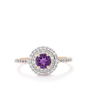Amethyst & White Zircon Rose Gold Vermeil Ring ATGW 1.36cts