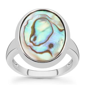Paua Ring in Sterling Silver (18x13mm)