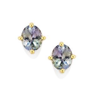 Bi Color Tanzanite Earrings  in 10k Gold 1.43cts