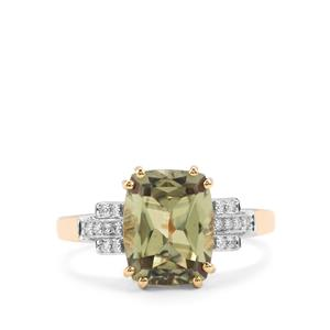 Csarite® Ring with Diamond in 18K Gold 3.69cts