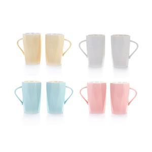 Set of 2 Geometric Shaped Mugs in OATMEAL (01), WHITE (02), BLUE (03) or PINK (04)