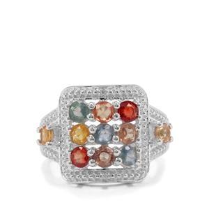 Songea Multi Sapphire & White Zircon Sterling Silver Ring ATGW 2.67cts