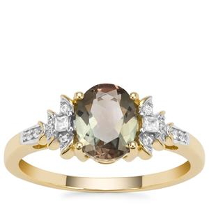 Peacock Parti Oregon Sunstone Ring with White Zircon in 9K Gold 1.21cts