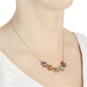 Multi-colour Gemstone Sterling Silver Necklace ATGW 7.15cts