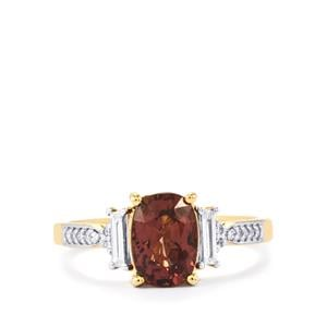 Bekily Colour Change Garnet & Diamond 18K Gold Tomas Rae Ring MTGW 2.21cts