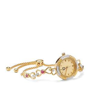 Montepuez Ruby Slider Watch with Diamond in Gold Plated Sterling Silver 0.87ct