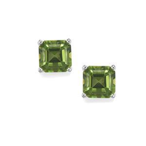 4.97ct Fern Green Quartz Sterling Silver Asscher Cut Earrings