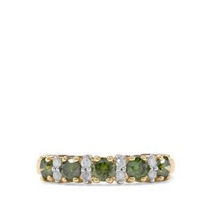 1ct  Green & White Diamond 9K Gold Tomas Rae Ring
