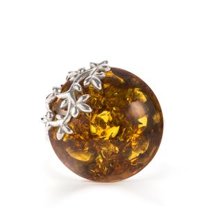 Baltic Cognac Amber Sterling Silver Ring (18.50x18.50mm)