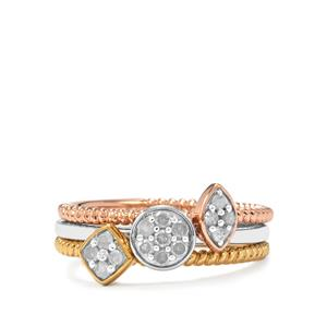 1/4ct Diamond Sterling Silver Set of 3 Stacker Rings