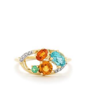 Harlequin & Diamond 9K Gold Ring ATGW 1.61cts