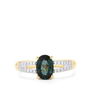 Nigerian Blue Sapphire Ring with Diamond in 18k Gold 1.22cts