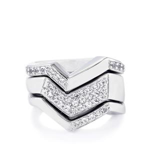 0.70ct White Topaz Sterling Silver Set of 3 Stacker Rings