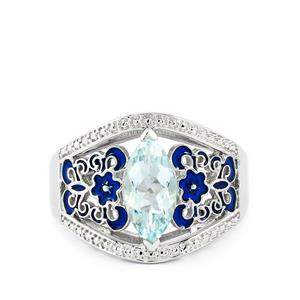 Espirito Santo Aquamarine Enamel Ring in Sterling Silver 1.39cts