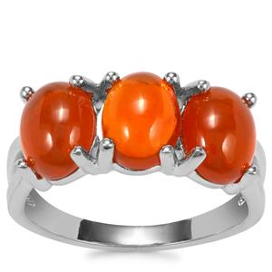 American Fire Opal Ring in Sterling Silver 3.34cts