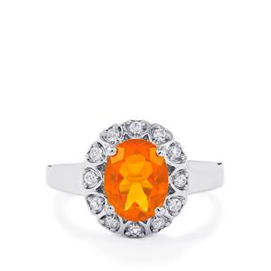 AA American Fire Opal Ring with White Zircon in Platinum Plated Sterling Silver 1.55cts