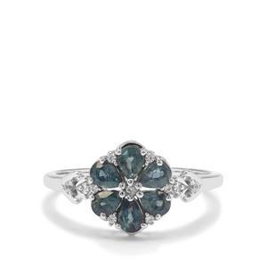 Nigerian Blue Sapphire & White Zircon 9K White Gold Ring ATGW 0.98ct