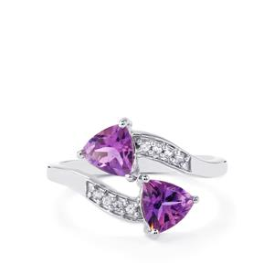 Moroccan Amethyst & White Zircon Sterling Silver Ring ATGW 1.42cts