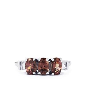 Colour Change Garnet & Diamond 9K White Gold Ring ATGW 1.67cts