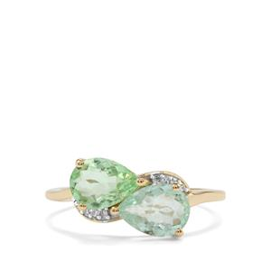 Paraiba Tourmaline Ring with Diamond in 10k Gold 1.82cts