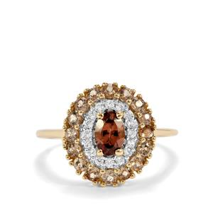 Tsivory Colour Change Garnet & White Zircon 9K Gold Ring ATGW 1.53cts