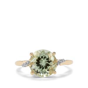 Congo Mint Tourmaline & Diamond 9K Gold Tomas Rae Ring ATGW 4.10cts