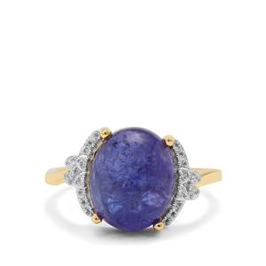 AAA Tanzanite Ring with White Zircon in 9K Gold 6.35cts