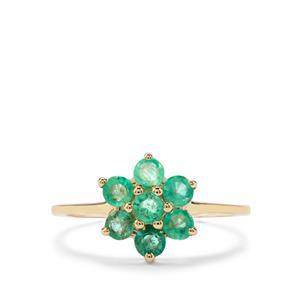 0.71ct Zambian Emerald 9K Gold Ring