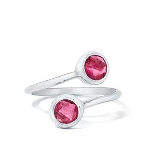 1.00ct Pink Tourmaline Sterling Silver Ring