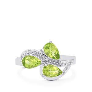 Changbai Peridot Ring with White Zircon in Sterling Silver 1.77cts
