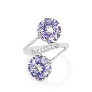 Tanzanite Ring with White Topaz in Sterling Silver 2.69cts