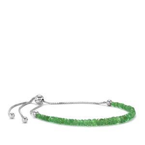 Tsavorite Garnet Slider Graduated Bead Bracelet in Sterling Silver 7cts